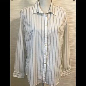 LOFT White Gray Striped Button Down Shirts